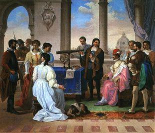 Eustachio Divini illustra le qualità del suo cannocchiale a Ferdinando II de' Medici, Granduca di Toscana